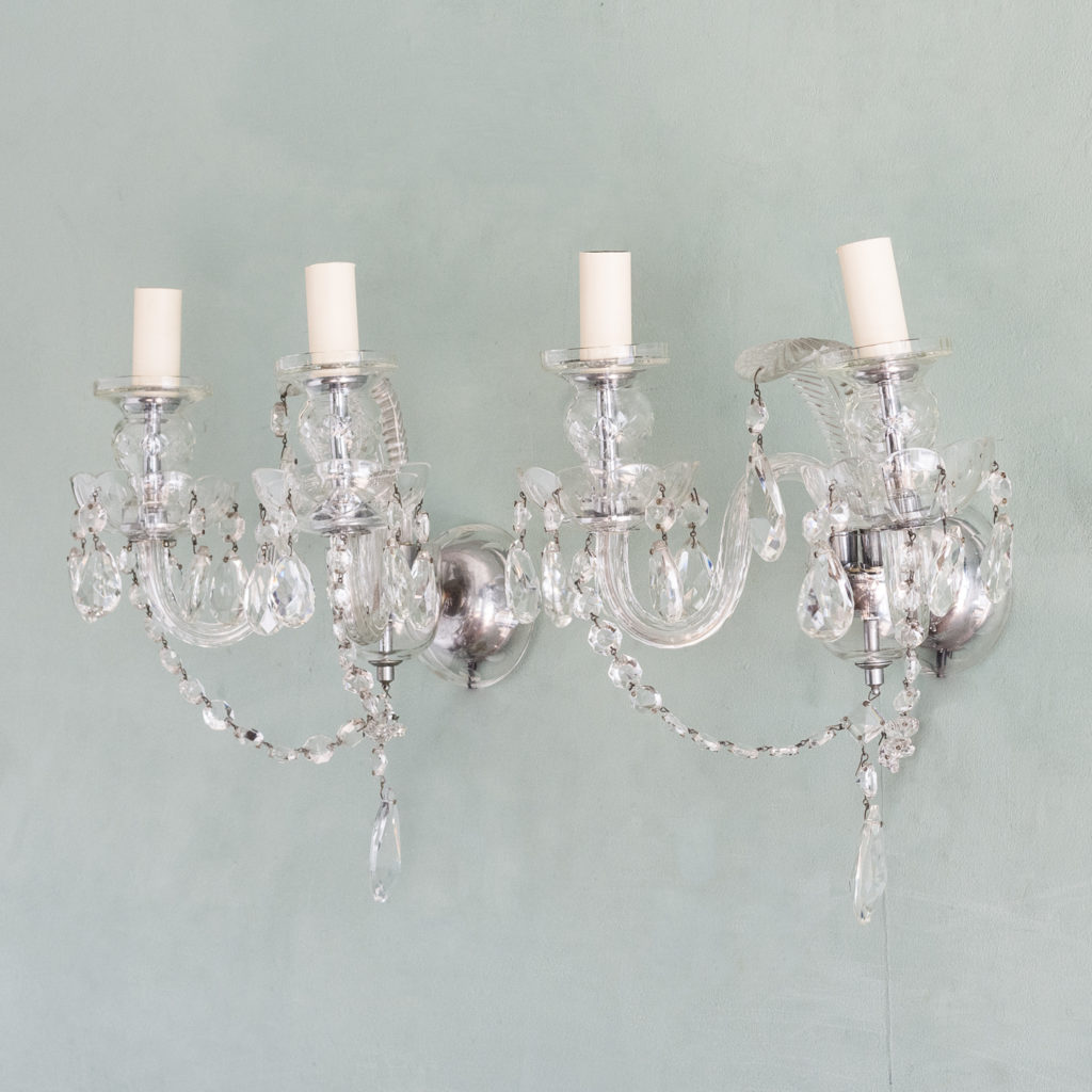 Twin light glass wall sconces,-117929