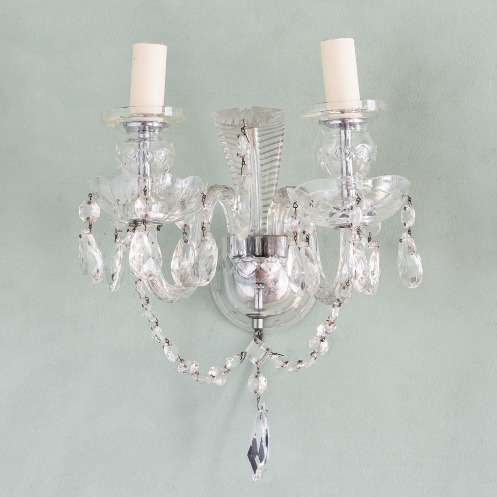 Twin light glass wall sconces,-117931