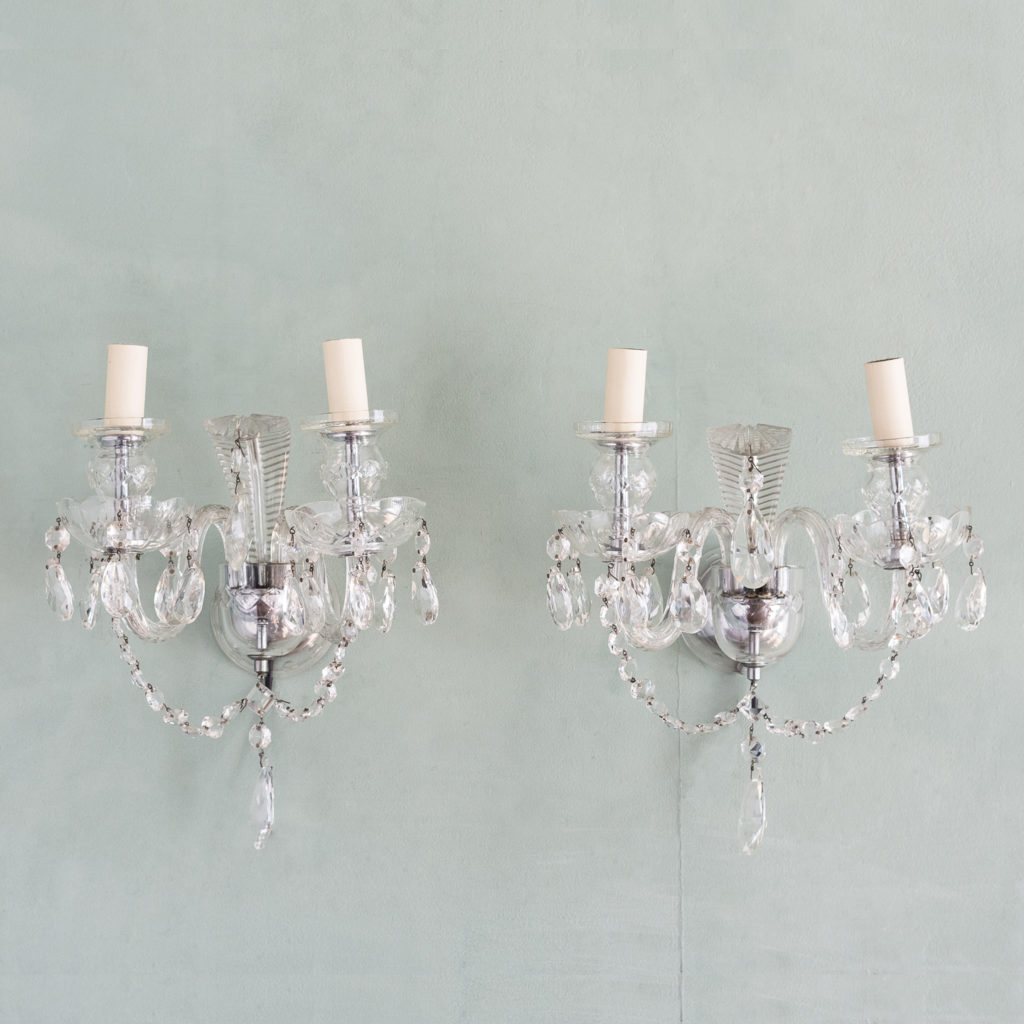 Twin light glass wall sconces,-0