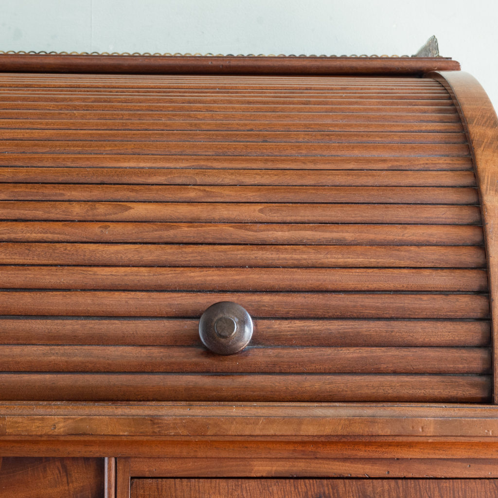 Victorian mahogany cylinder desk,-117697