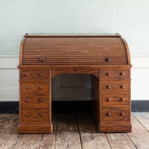 Victorian mahogany cylinder desk,-0