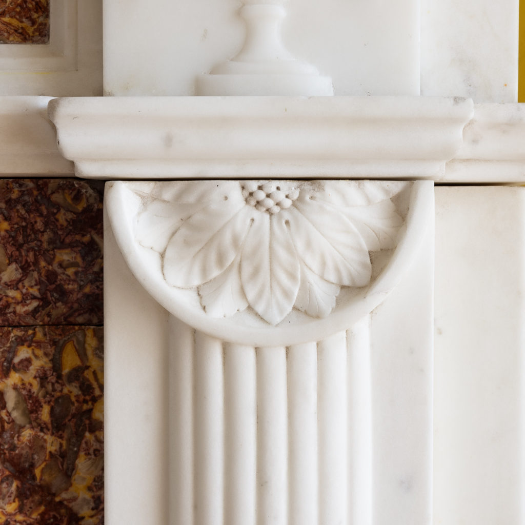 Late eighteenth century statuary and brocatello chimneypiece, -117565