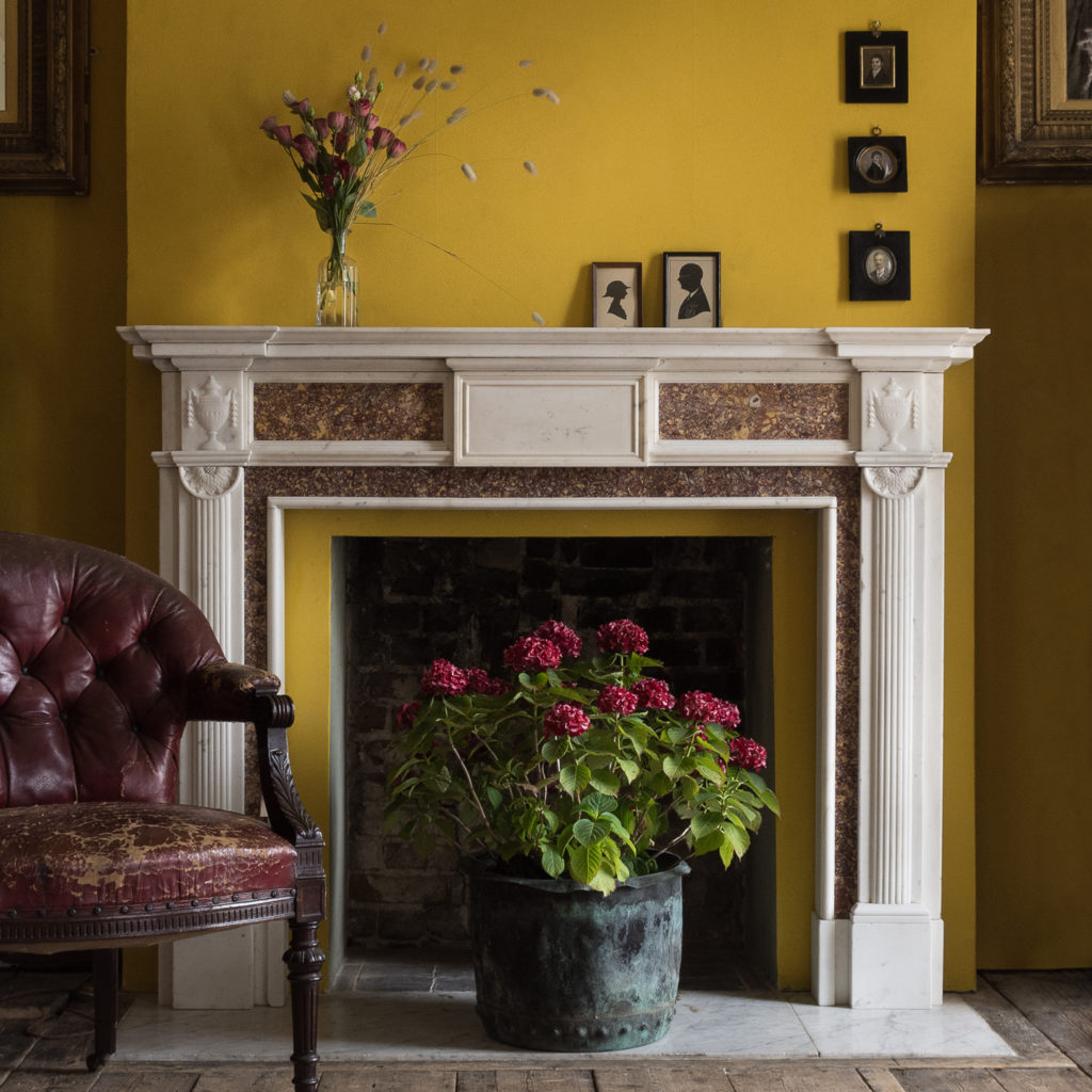 Late eighteenth century statuary and brocatello chimneypiece, -117579
