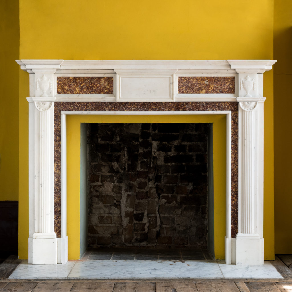 Late eighteenth century statuary and brocatello chimneypiece, -0