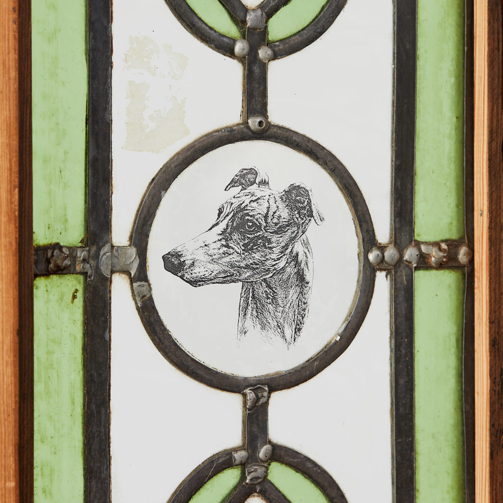 A pair of stained glass panels,-118122