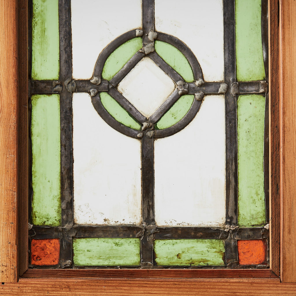 A pair of stained glass panels,-118124