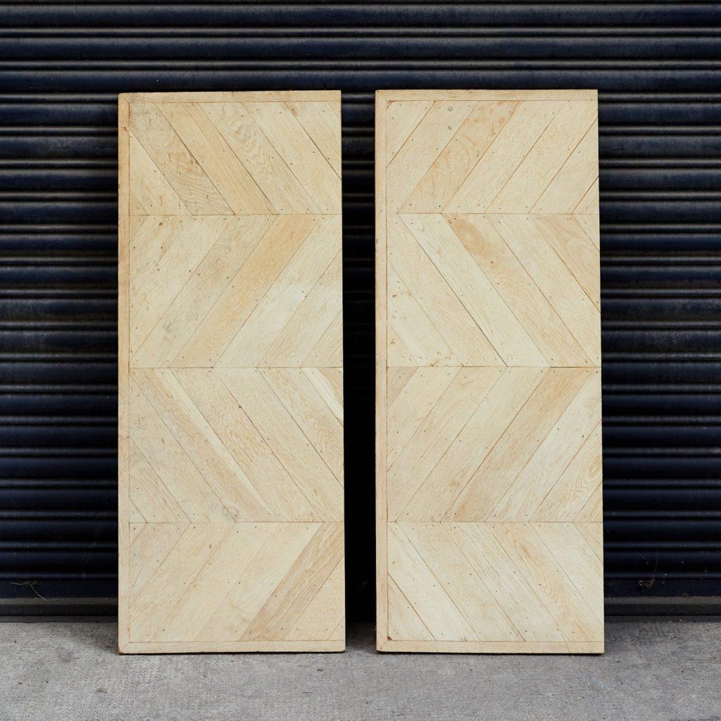Pair of oak chevron console table tops,-0