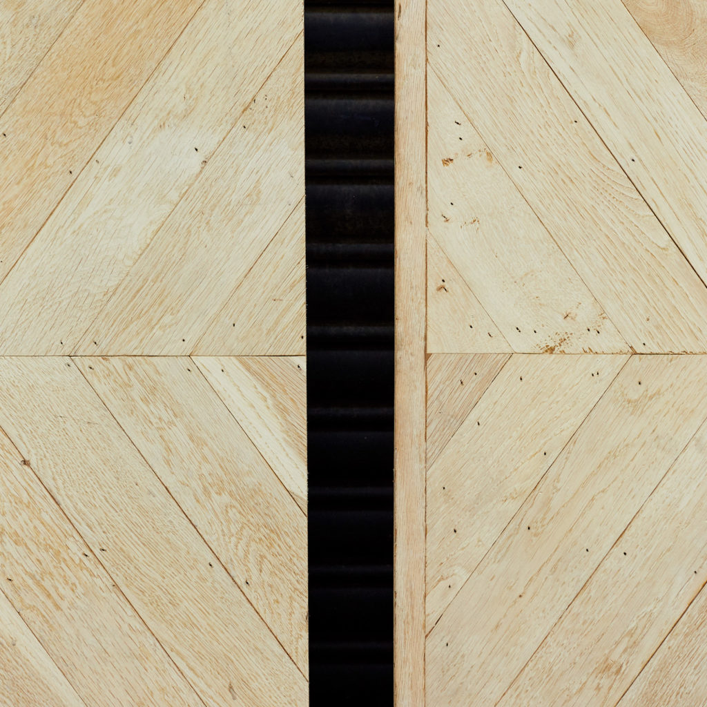 Pair of oak chevron console table tops,-118179