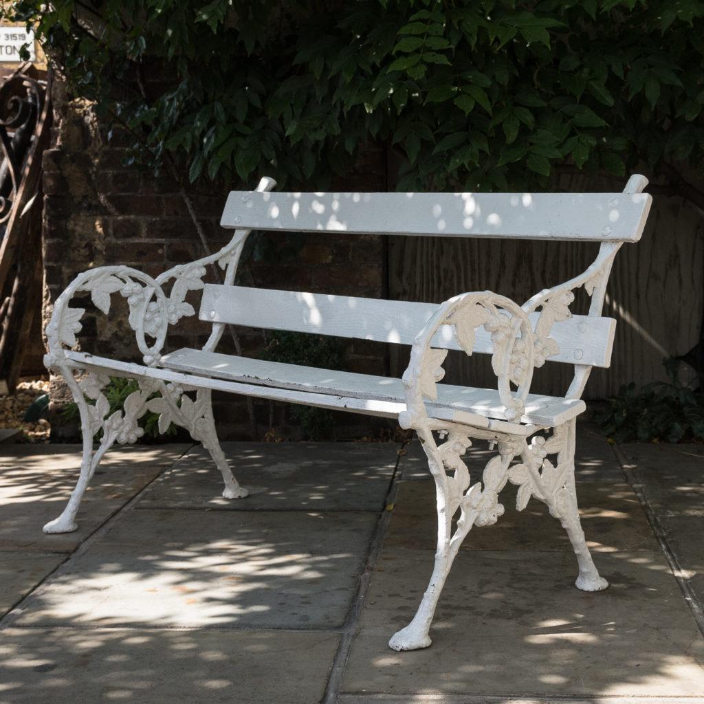 White painted cast iron garden bench,-0