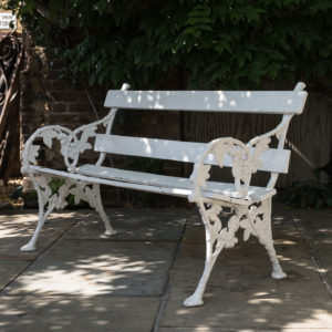 White painted cast iron garden bench,-0