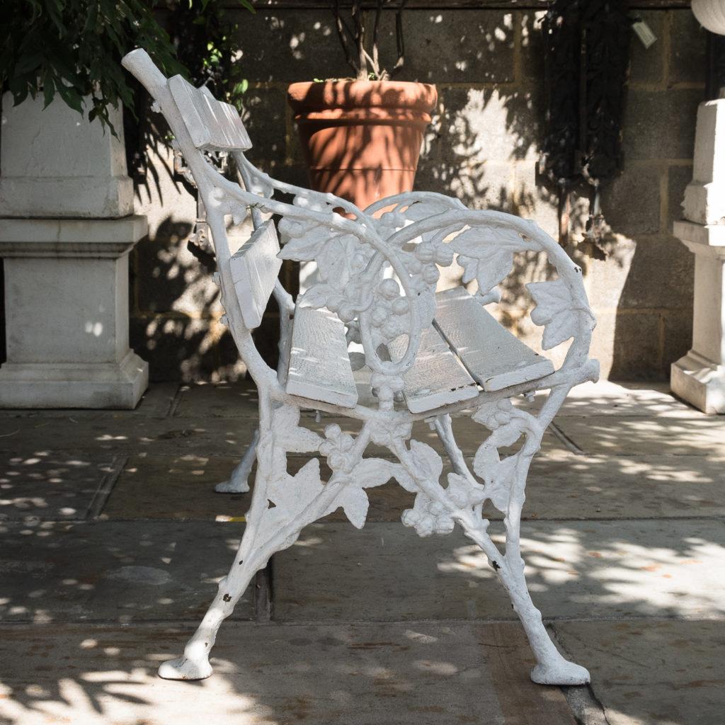 White painted cast iron garden bench,-118585