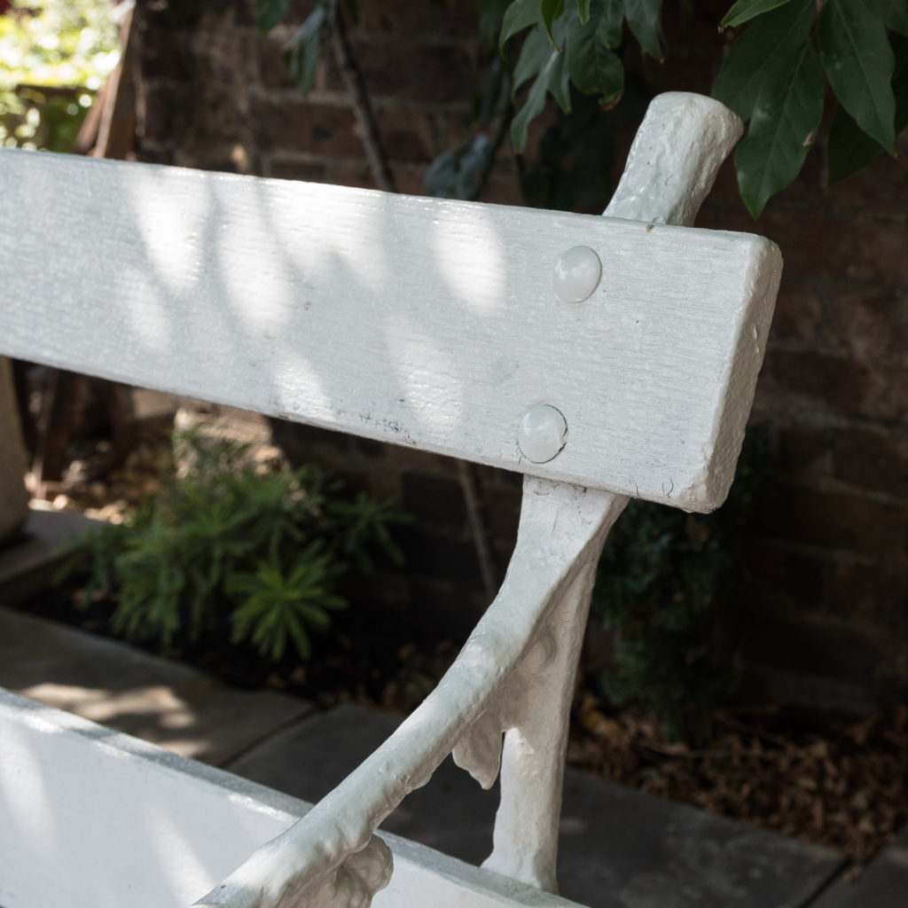 White painted cast iron garden bench,-118577