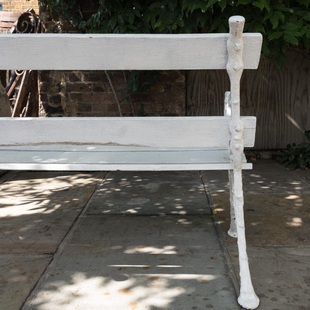 White painted cast iron garden bench,-118583