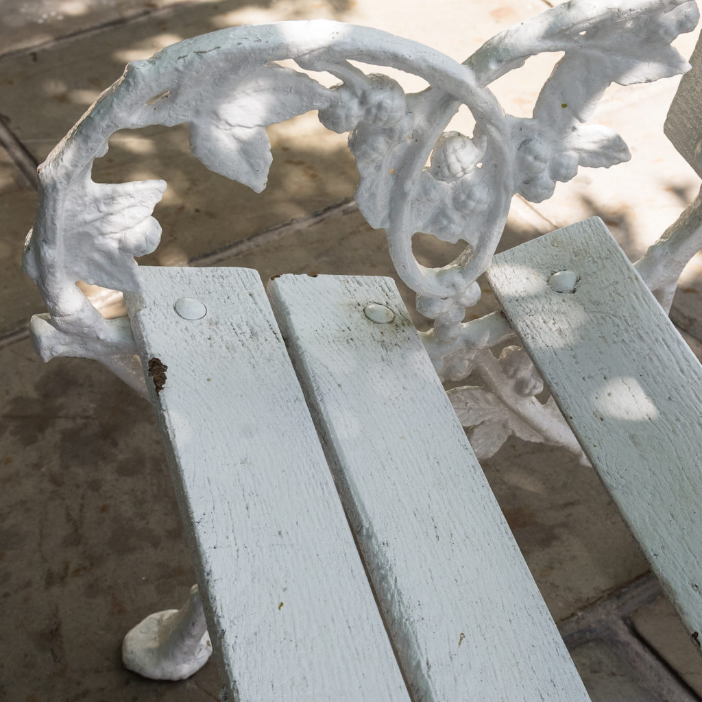 White painted cast iron garden bench,-118580