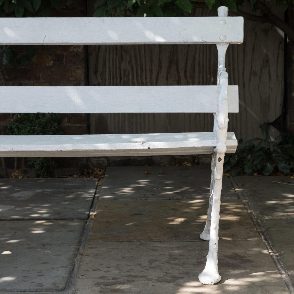 White painted cast iron garden bench,-118581