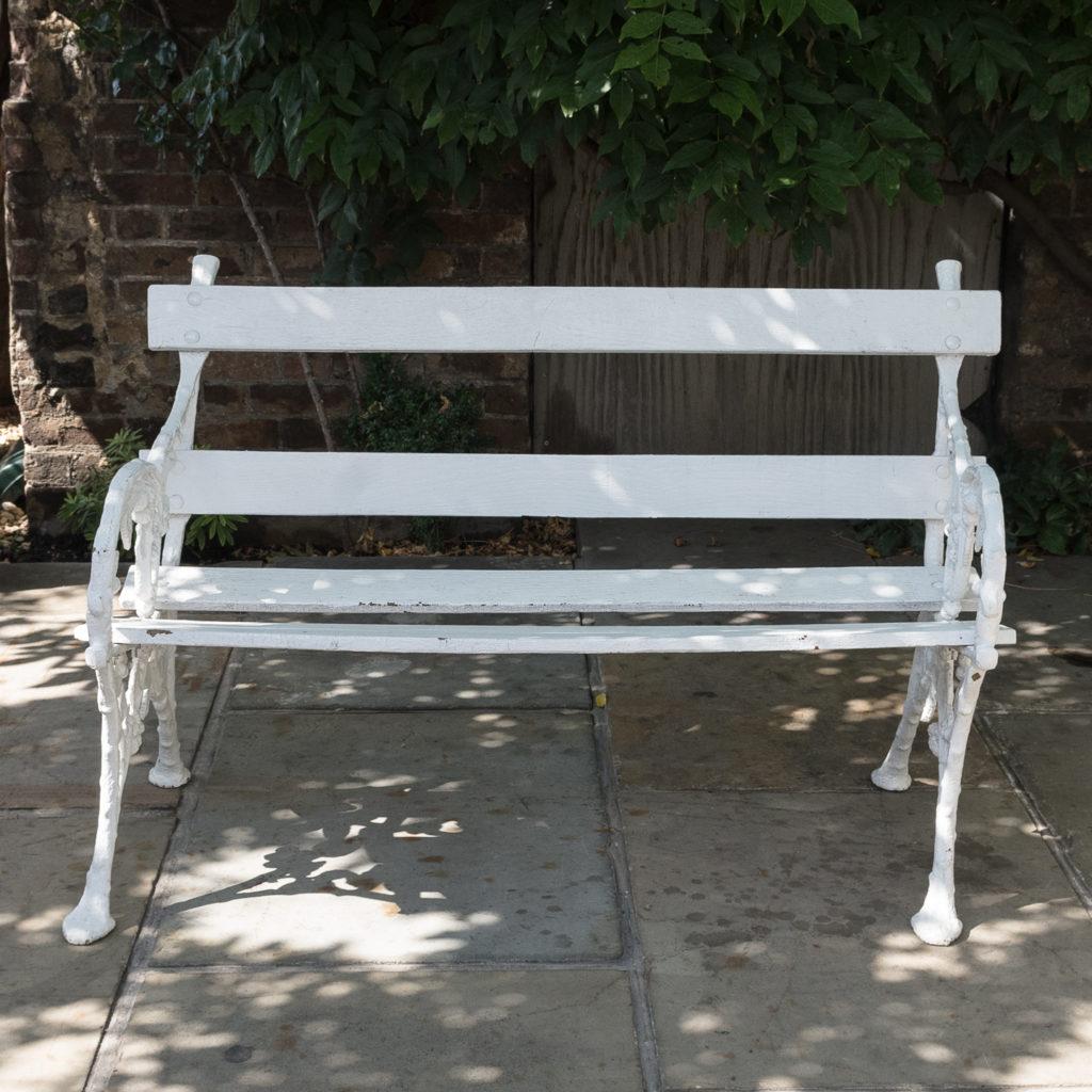 White painted cast iron garden bench,-118584
