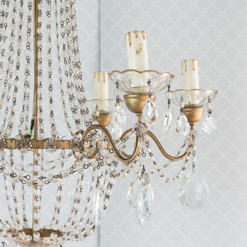 Gilt-metal and glass tent and bag chandelier,-118535