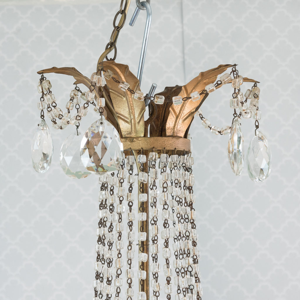 Gilt-metal and glass tent and bag chandelier,-118532