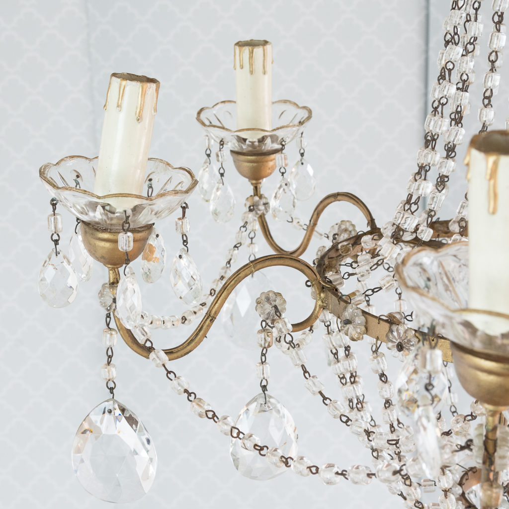 Gilt-metal and glass tent and bag chandelier,-118533