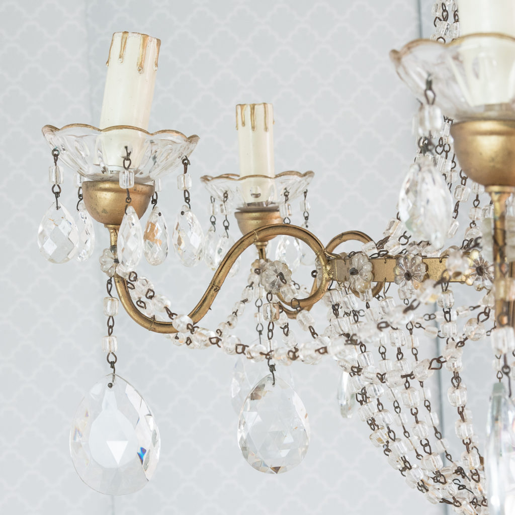 Gilt-metal and glass tent and bag chandelier,-118534