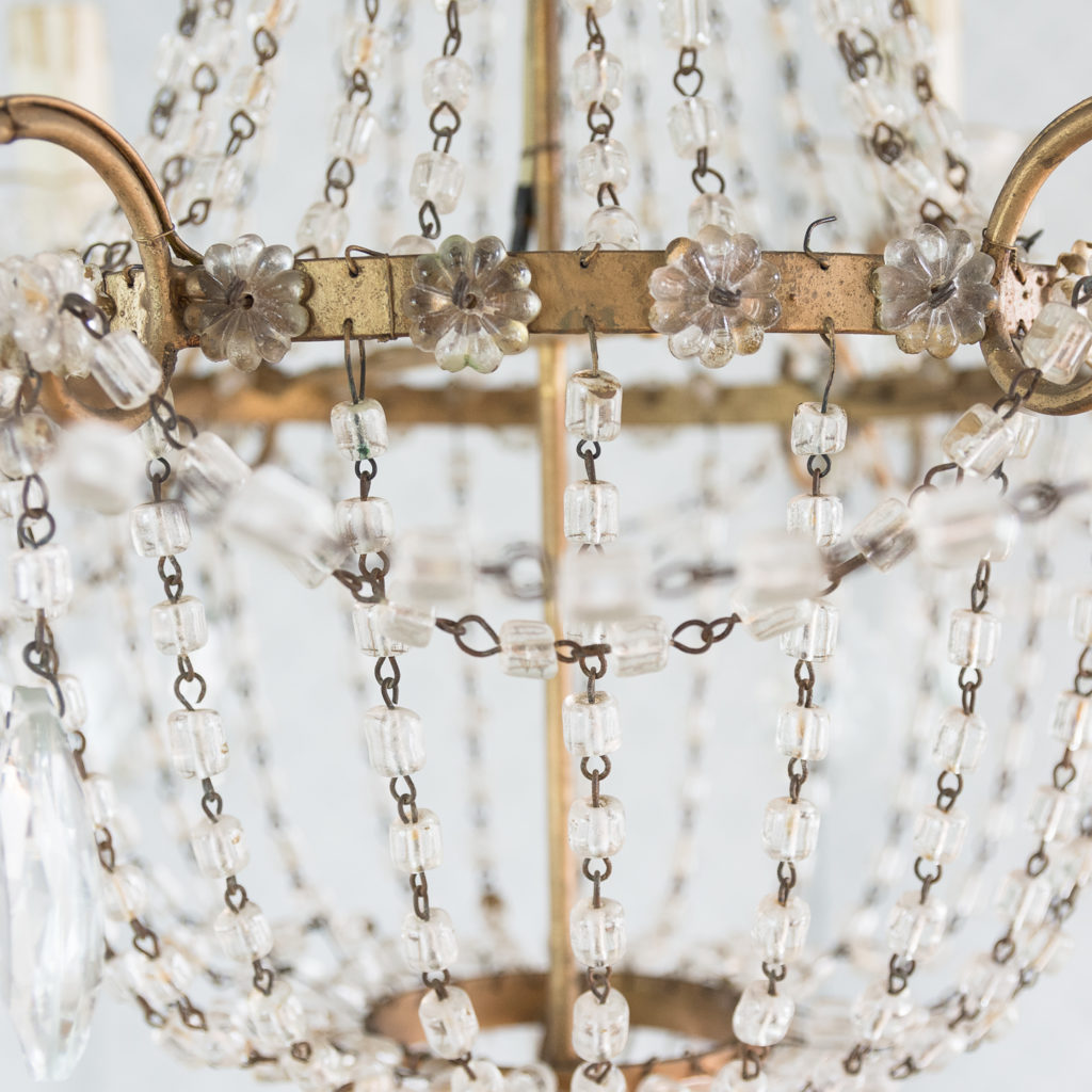Gilt-metal and glass tent and bag chandelier,-118530