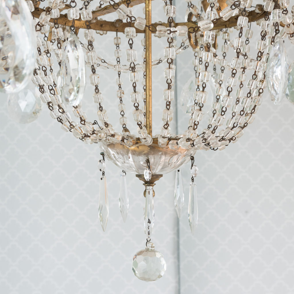 Gilt-metal and glass tent and bag chandelier,-118527