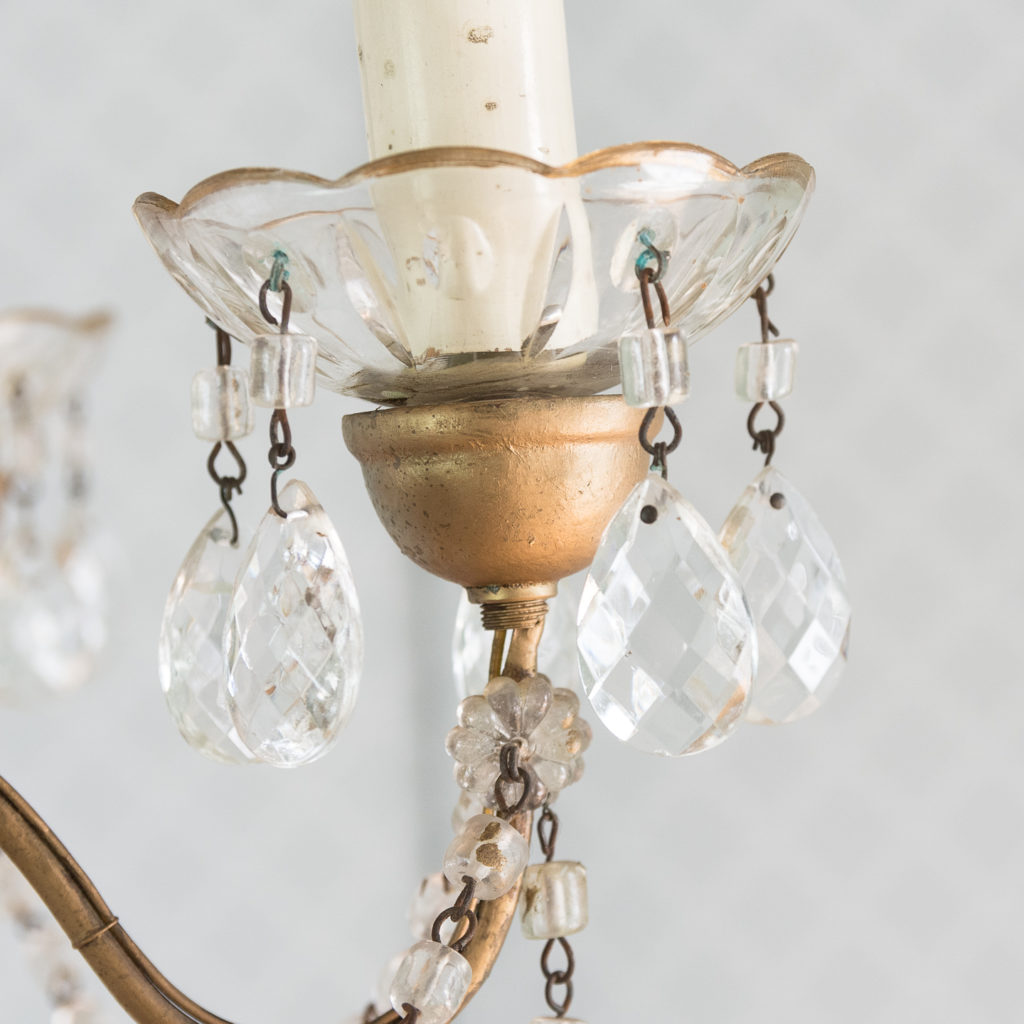 Gilt-metal and glass tent and bag chandelier,-118531