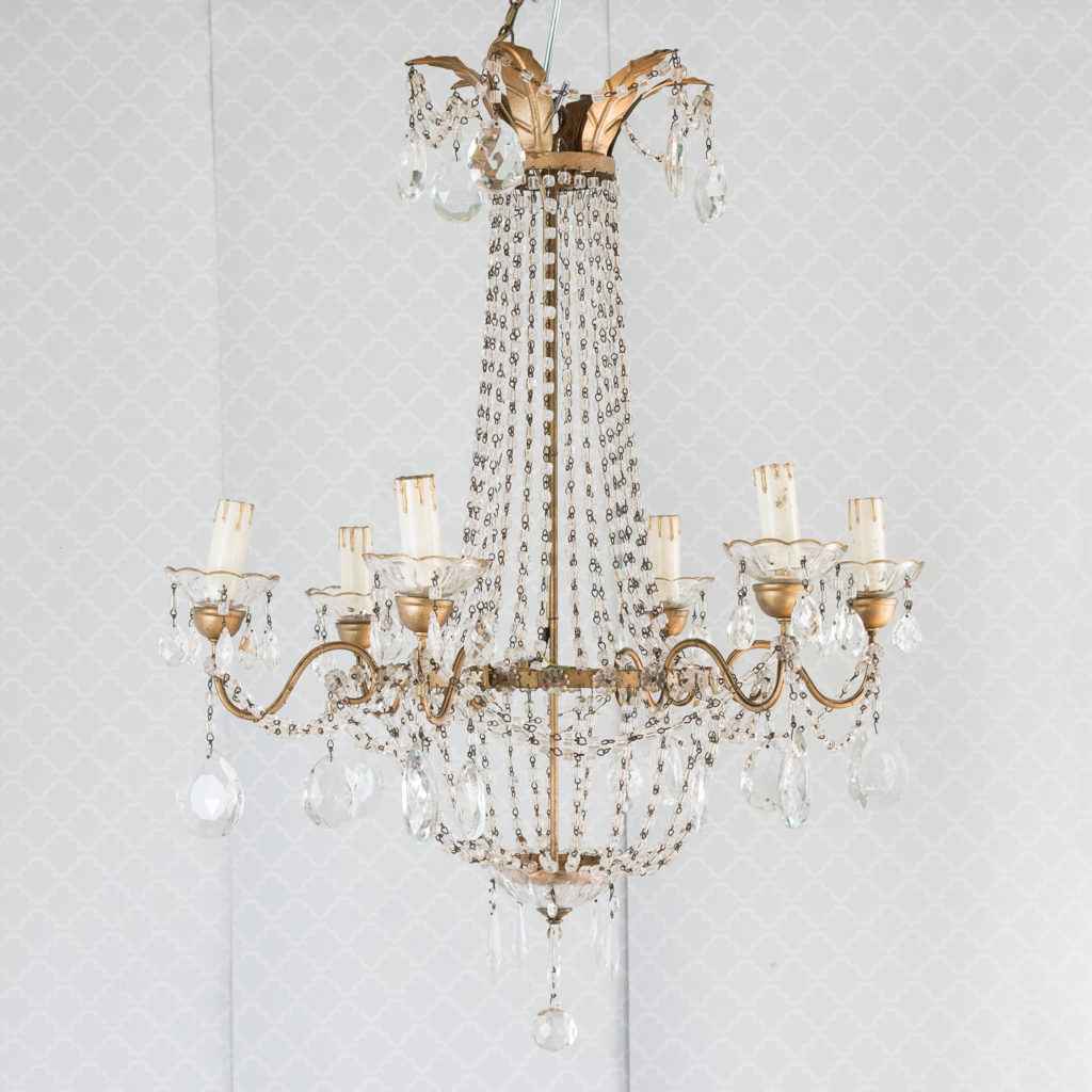 Gilt-metal and glass tent and bag chandelier,-0