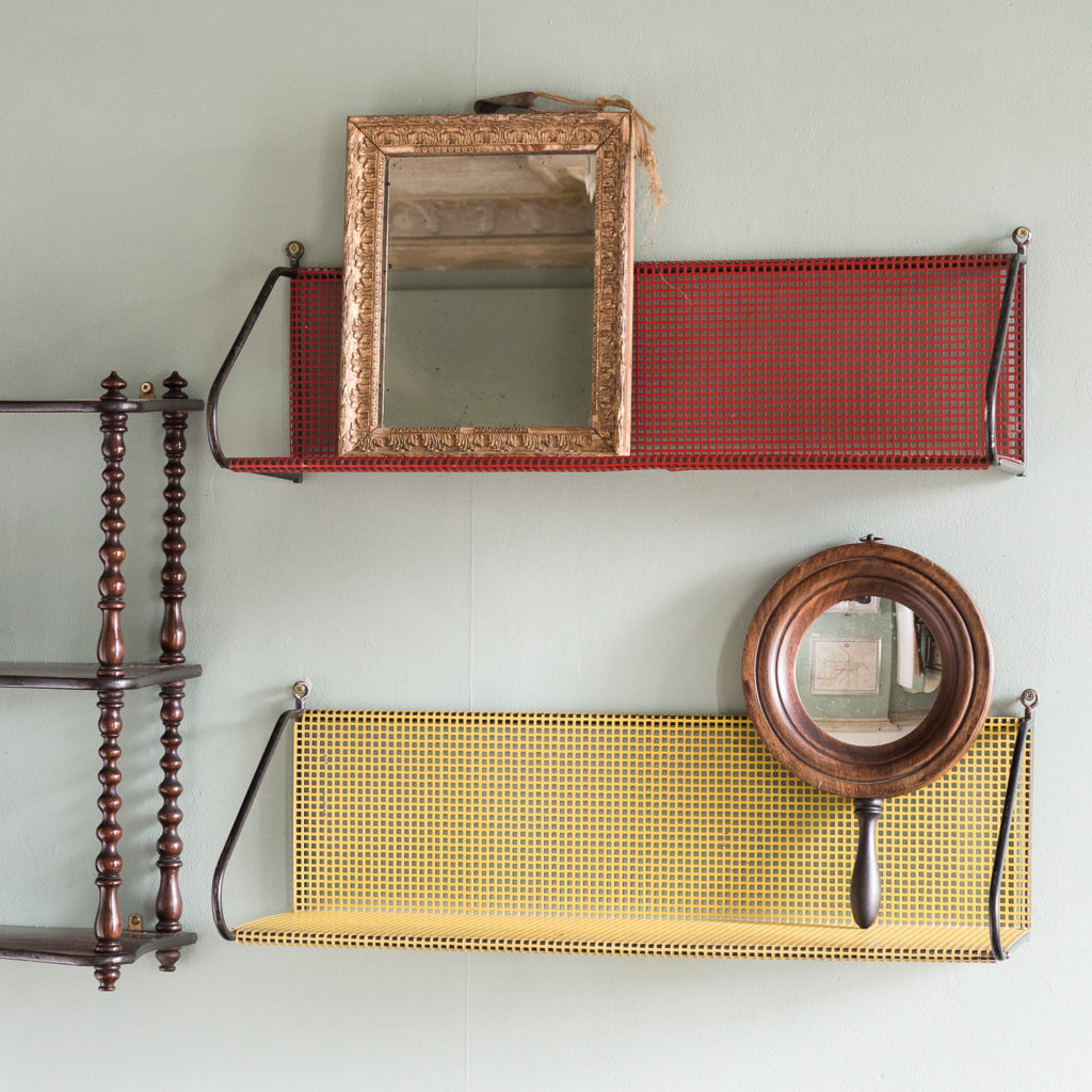 1950s perforated metal wall shelves,-118625