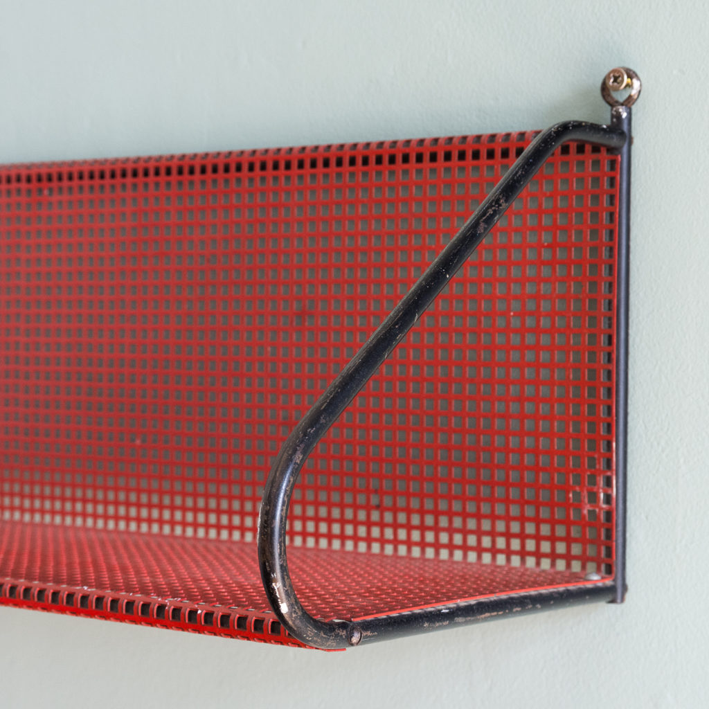 1950s perforated metal wall shelves,-118637