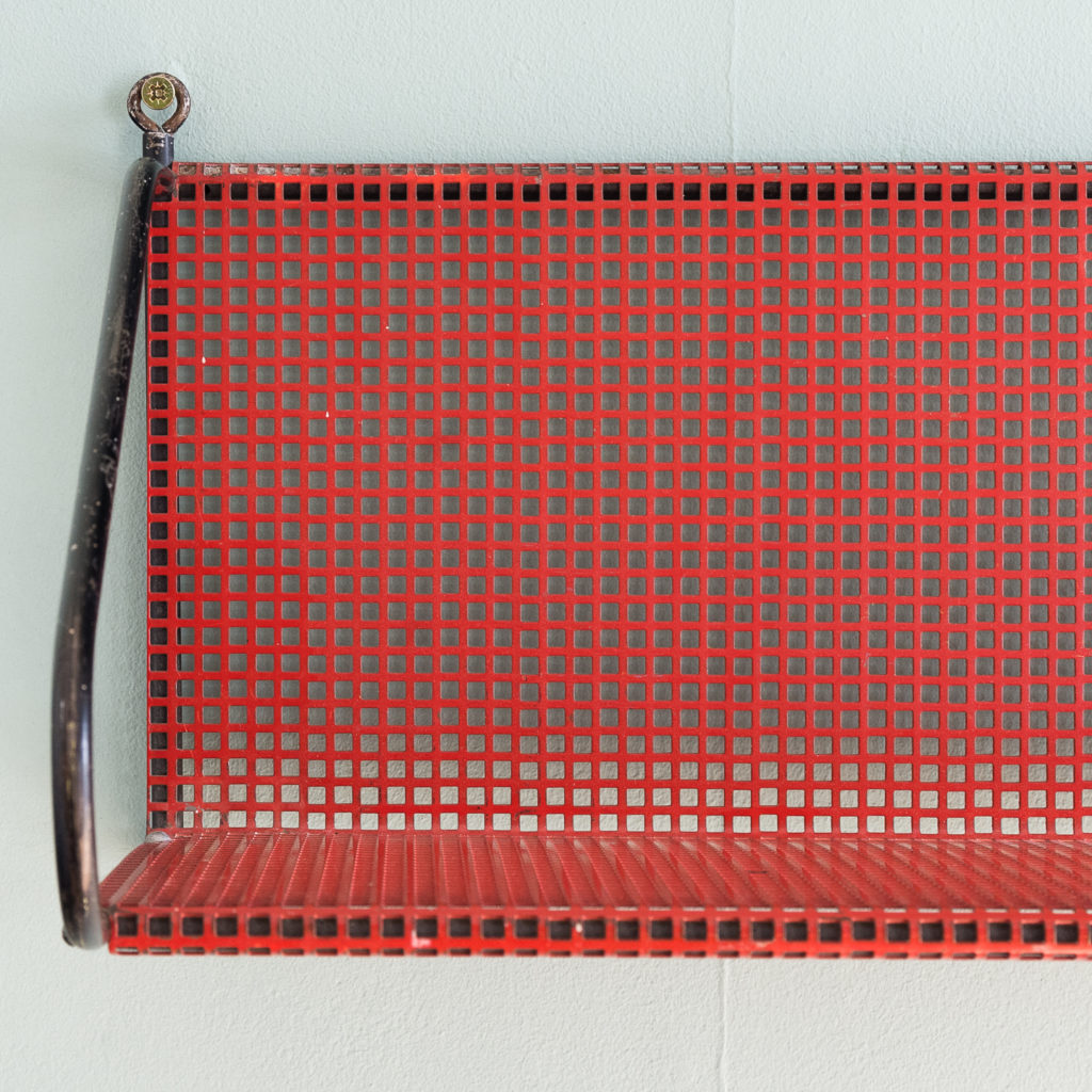 1950s perforated metal wall shelves,-118638