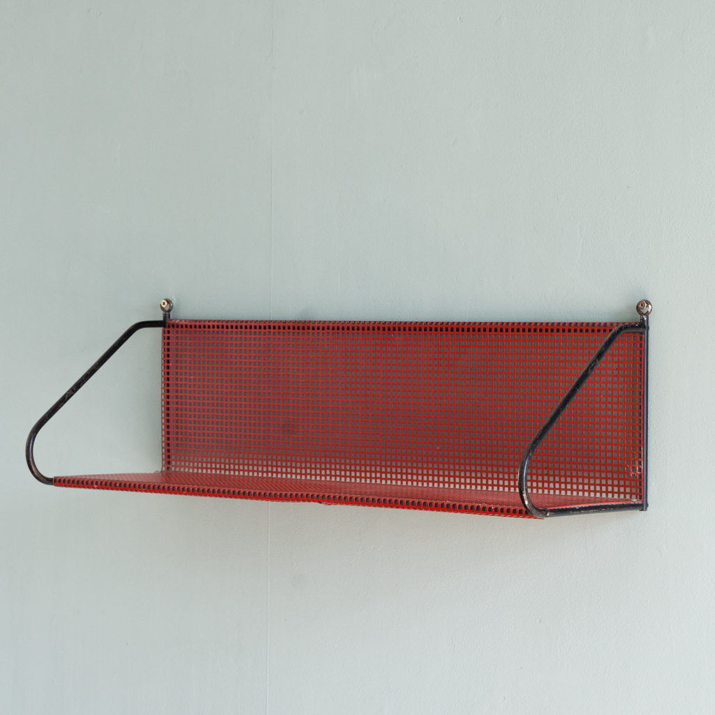 1950s perforated metal wall shelves,-0