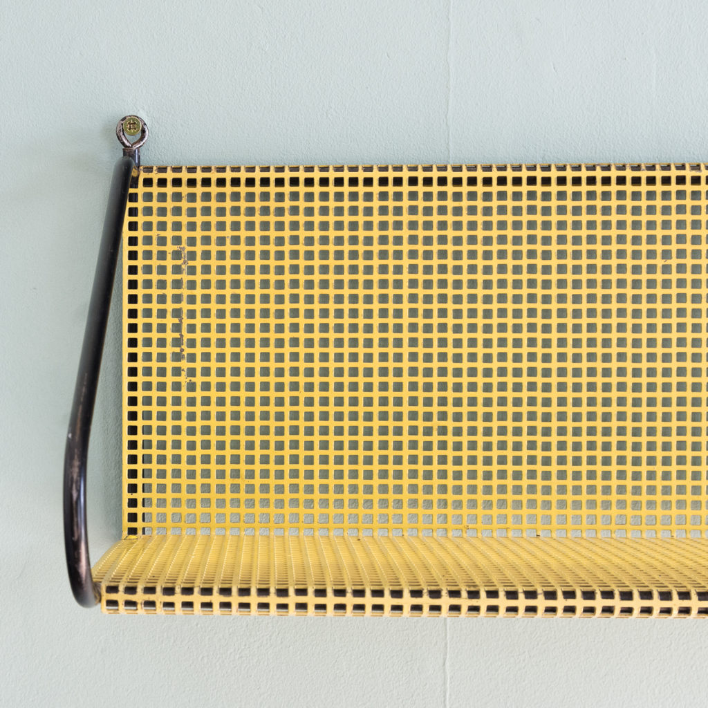 1950s perforated metal wall shelves,-118620