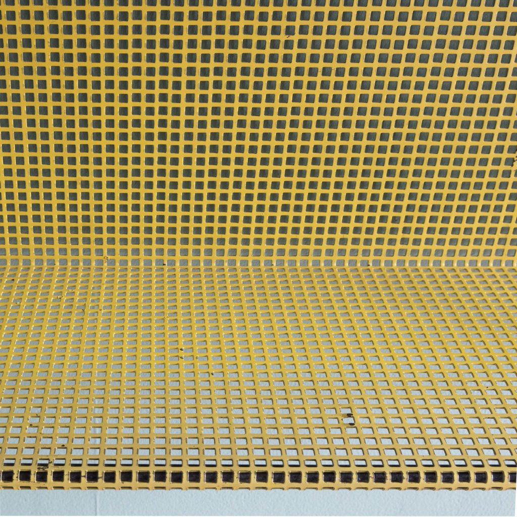 1950s perforated metal wall shelves,-118623