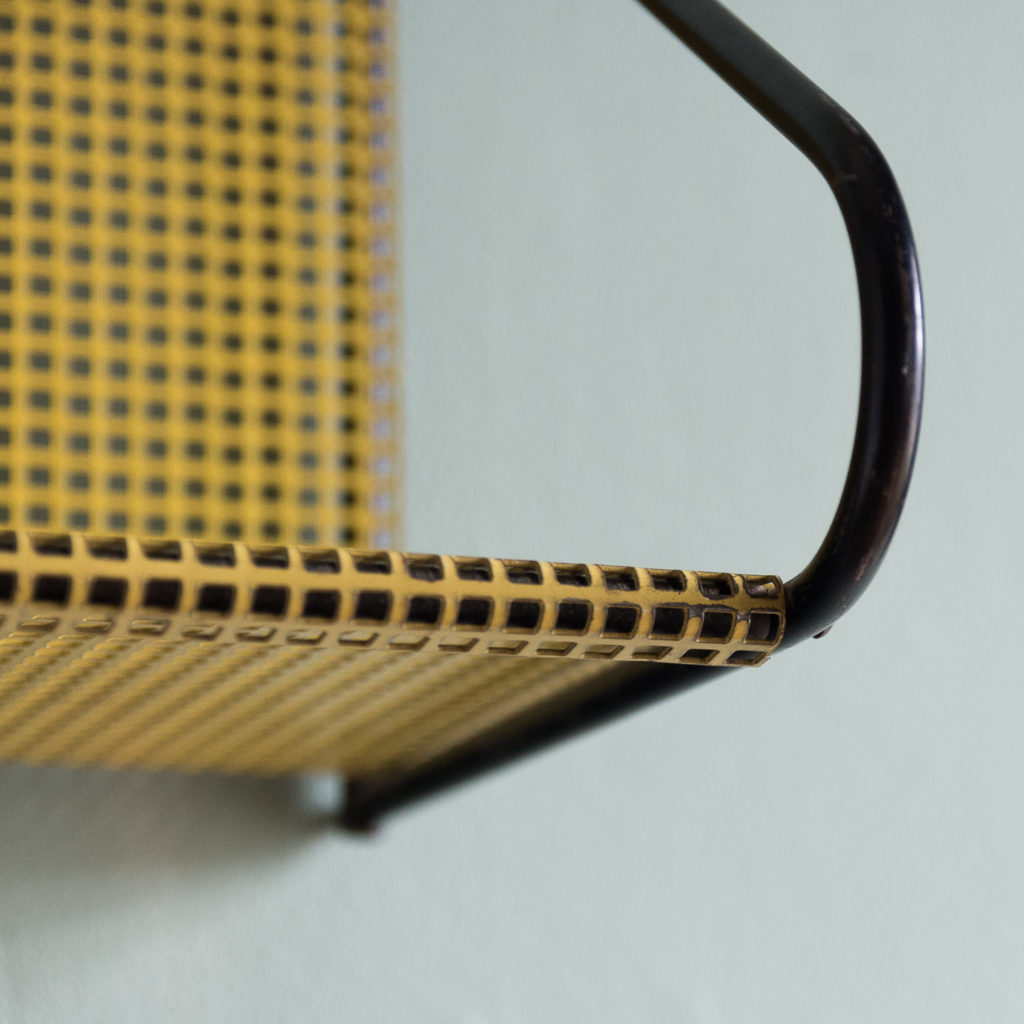 1950s perforated metal wall shelves,-118624