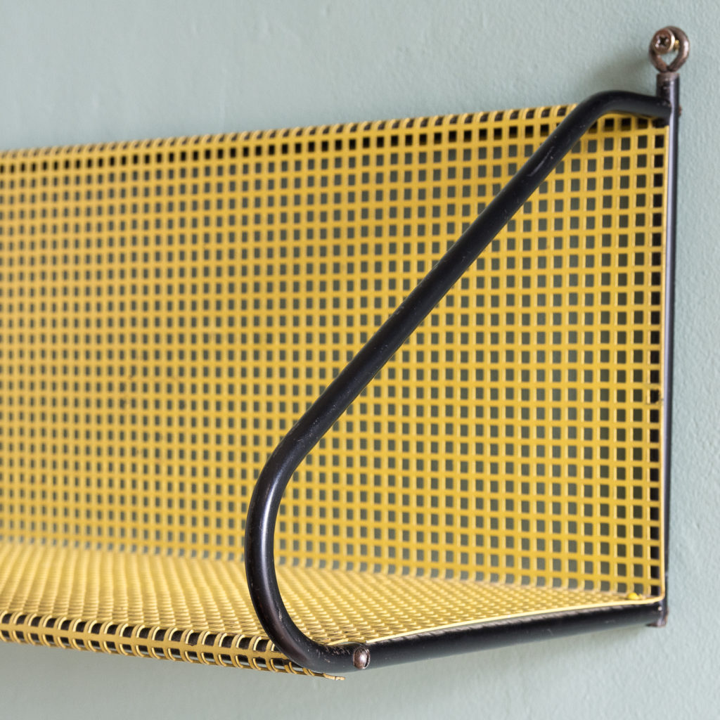 1950s perforated metal wall shelves,-118622