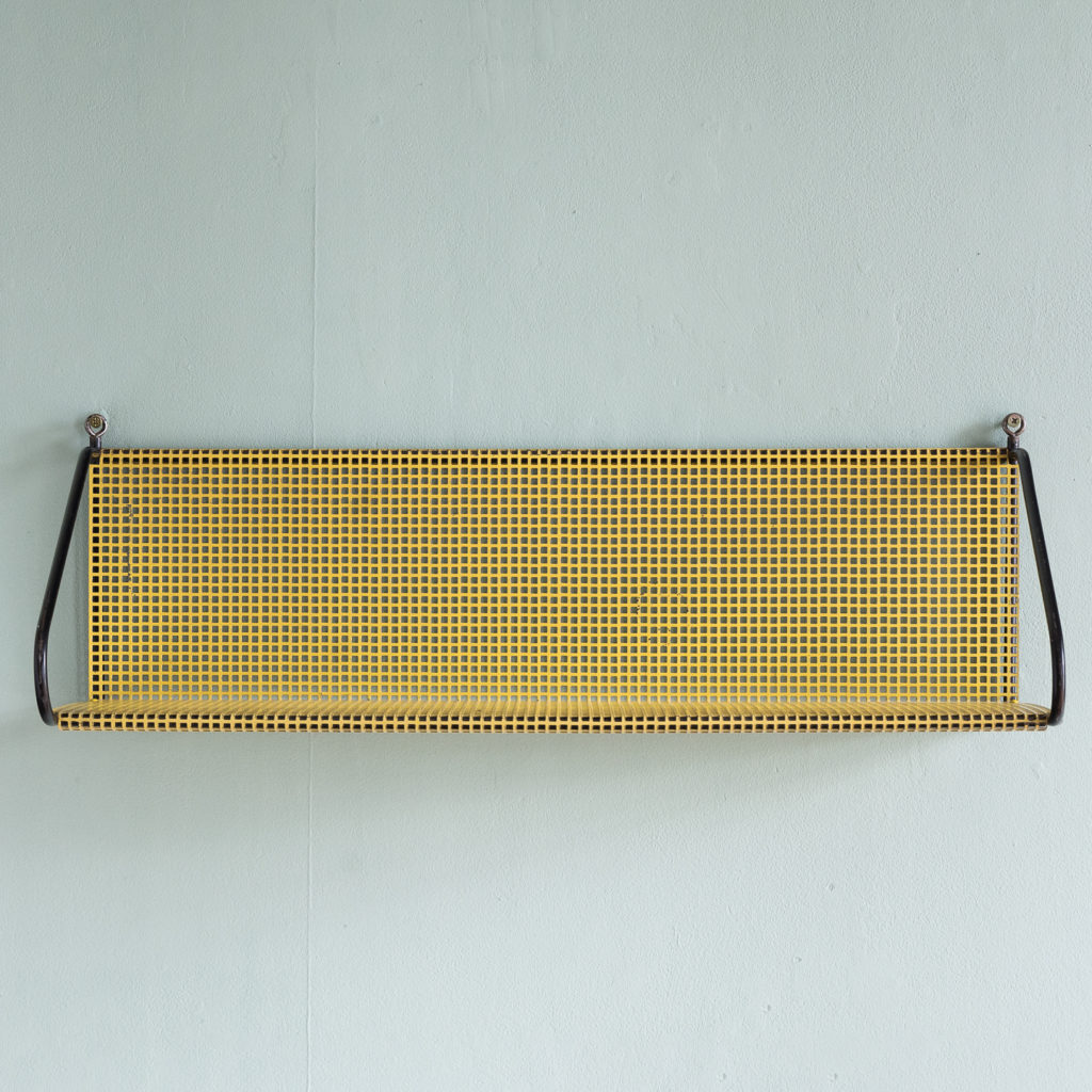 1950s perforated metal wall shelves,-118621