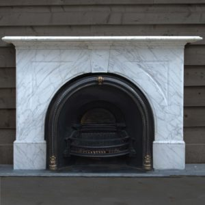 A mid Victorian pencil-statuary marble chimneypiece,-0