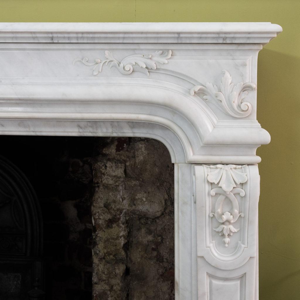 Louis XIV style Carrara marble chimneypiece,-118940