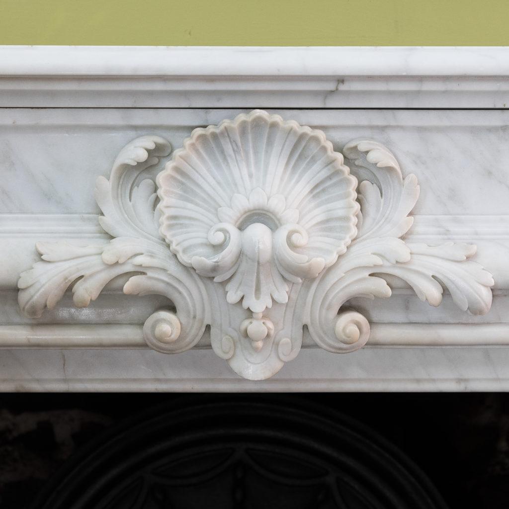 Louis XIV style Carrara marble chimneypiece,-118934