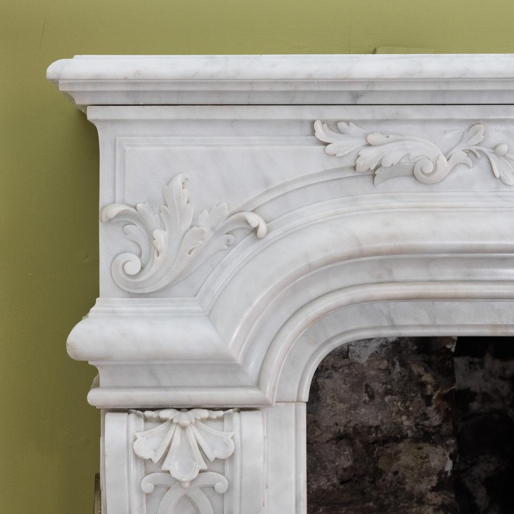 Louis XIV style Carrara marble chimneypiece,-118929