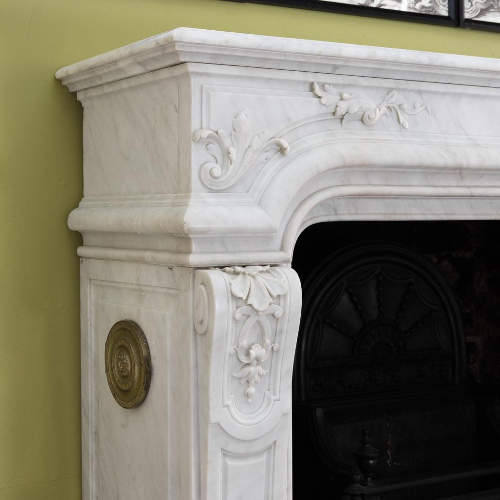 Louis XIV style Carrara marble chimneypiece,-118932