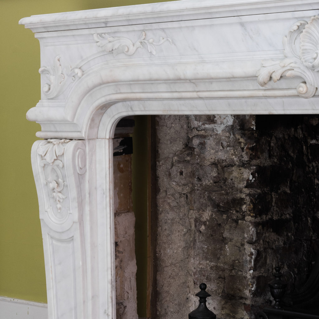 Louis XIV style Carrara marble chimneypiece,-118941