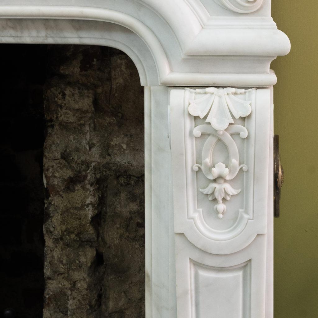 Louis XIV style Carrara marble chimneypiece,-118943