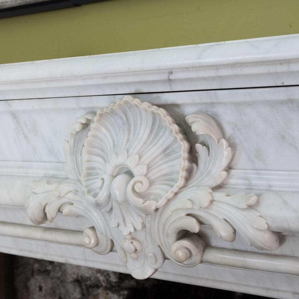 Louis XIV style Carrara marble chimneypiece,-118938