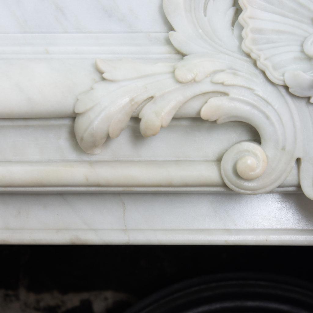 Louis XIV style Carrara marble chimneypiece,-118931