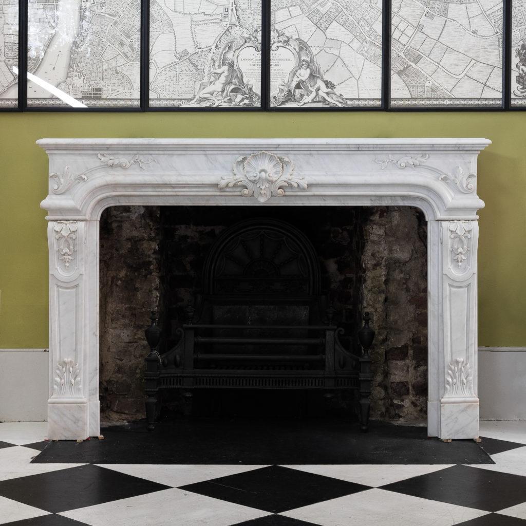 Louis XIV style Carrara marble chimneypiece,-0