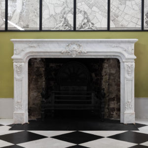 Louis XIV style Carrara marble chimneypiece,-0