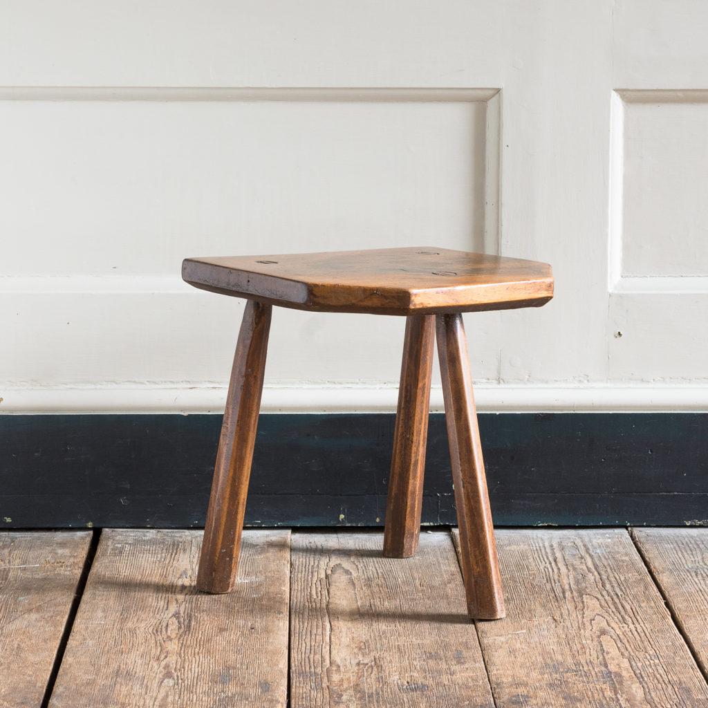 Walnut milking stool,-0