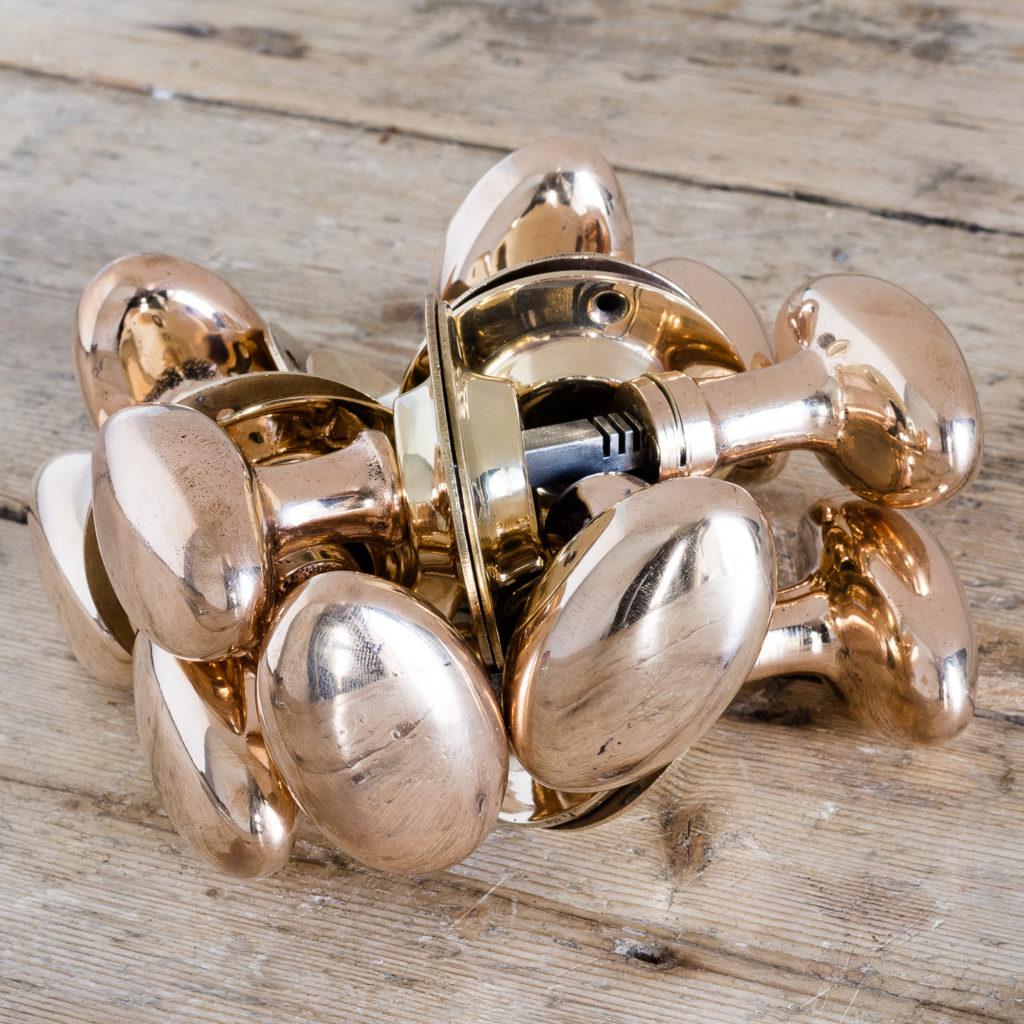 Rose brass oval door knobs,-119920